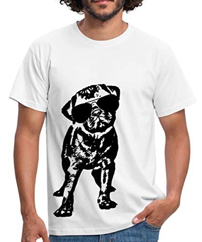 Spreadshirt Mops Hund Mit Sonnenbrille Männer T-Shirt, XL, Weiß