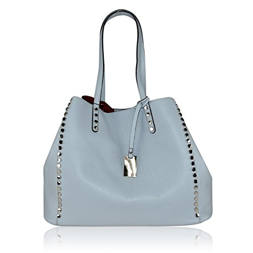 ZETA SHOES Borsa a Spalla Donna in Vera Pelle Made in Italy 38x27x17 MainApps Blu