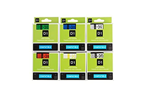 Set of 6 PK Compatible with Dymo D1 45010 45013 45016 45017 45018 45019 Label Tape Cassette 12mm 7m Standard Self-Adhesive-Color Combo Black on Clear/White/Red/Blue/Yellow/Green For LabelManager Printer LM PnP 160