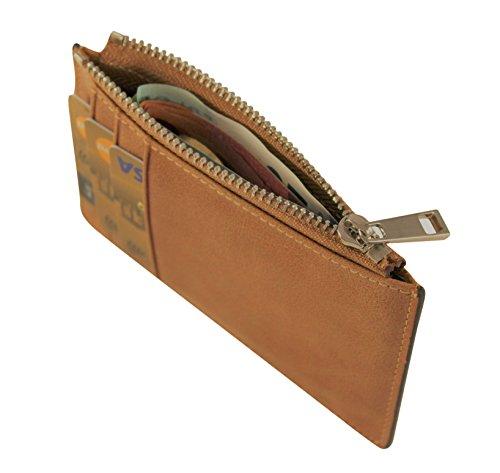 Minimal Leder Geldboerse RFID Schutz (Schwarz) Braun