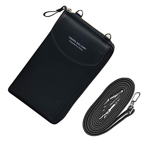 Schwarz Brieftasche Tasche (Jangostor kleine Crossbody Tasche Handy - Tasche Brieftasche mit Credit Card Slots für Frauen (Black))