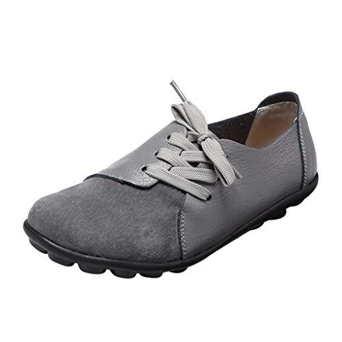 MakefortuneDamen Leder Mokassins Casual Loafer Flache Bootsschuhe Schnürer Slip On Driving Schuhe Wanderschuh -