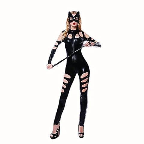 XIXI Nero Sexy Halter Di Fuori Del Divertimento Biancheria Intima Tuta Siamese Cat Girl