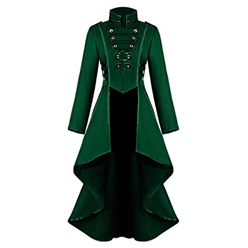 Damen Mantel,KUDICO Steampunk Gothic Jacke Kleid Retro Langarm Mittellang Kostüm Cosplay Uniform Blazer Smokingjacke Corset Outfit (Grün, EU-36/CN-M)