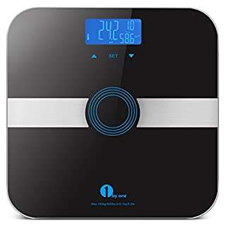 Body Fat Scale, 1byone Wireless Scale Digital with Tempered Glass, Max. 180kg/400lb Weight Scale, 10 Users Auto Recognition, Measures Weight, Body Fat, Water, Muscle, Calorie and BMI, Black