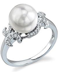 9d58d38a59d 8.5–9.0 mm Perle de culture Akoya et diamant Couronne Bijou Bague en ...