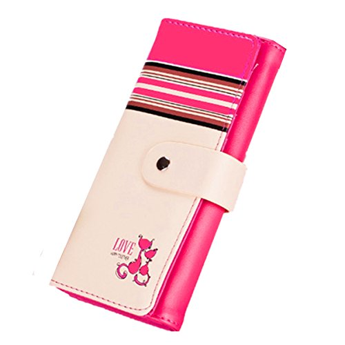 Love Cat OURBAG da donna, in pelle, Money Clip-Borsa fasciatoio-Borsa, a portafoglio, giallo (Giallo) - OURBAGtEseqR7Jc Rosso/rosa