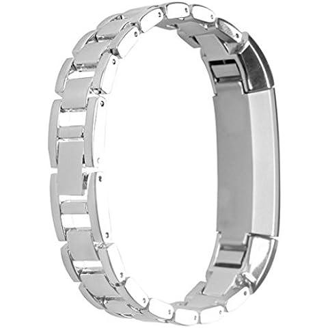 para Fitbit Alta Rastreador , Amlaiworld Banda de reloj de acero inoxidable (Plata)