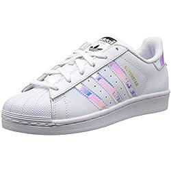 Adidas Superstar J, Zapatillas Unisex Niños, Blanco (Footwear White/Footwear White/Metallic Silver-Solid 0), 37 1/3 EU