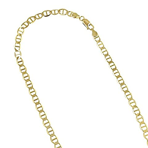 10K Yellow Gold Solid Flat Mariner Chain 3mm Wide Necklace with Lobster Claw Clasp 24 inches long