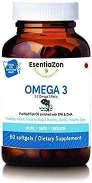 EsentiaZon Omega-3 Fish Oil Triple Strength 1000mg (300mg EPA, 200mg DHA) - 60 Softgels