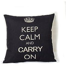 HuntGold 1X Inicio Sofá Almohada decorativa Throw Cushion Caso de lino de la cubierta de la corona de algodón (Negro)