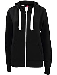 Nouvelle plaine de filles Ladies Zip Up Hoodie Sweatshirt femmes Fleece Jacket Hooded Top