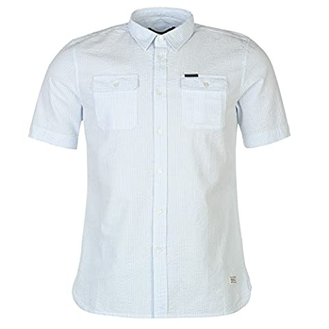 Firetrap Blackseal Herren Seersucker Hemd Gestreift Kurzarm Brusttasche Weiß/Blau Extra Lge