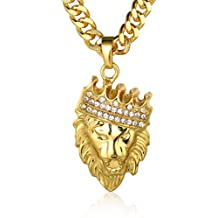 Löwen Anhänger Kette 18 K vergoldet Hip Hop Schmuck Löwenkopf Goldkette Herren