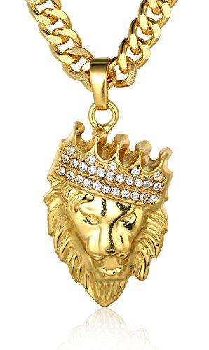 """Halukakah ● Kings Landing ● Männlich In 18 Karat Vergoldetete Krone Löwe Anhänger Halskette mit Kostenloser 24\""""/60cm Kubanische Kette"""