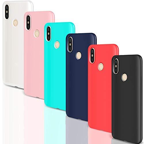 Leathlux [6 Packs] Funda para Xiaomi Mi A2 Lite, Carcasas Ultra Fina Silicona TPU Colores Cover para Xiaomi Mi A2 Lite - Translúcido Rosa Verte Azul Rojo Negro