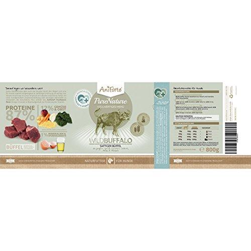 AniForte® PureNature Nassfutter 800g Wild Buffalo Hundefutter- Naturprodukt für Hunde (Saftiger Büffel, 6x800g) - 3