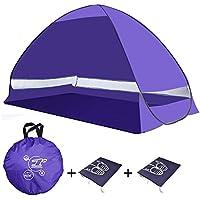 Tenda da spiaggia portatile di tipo pop-up, a montaggio automatico, con protezione UV 50+ e spazio giochi per bambini, per uso in interni o in esterni, in grado di ospitare 2 adulti con bambini, multicolore, con borse porta scarpe incluse, Purple