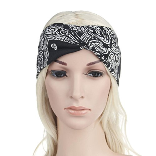 OHQ Ms. Dye Hair Band Headband Sport Yoga Femmes ÉLastique Floral Bandeau Turban Twisted Noué Noir Bleu Blanc Rouge Marine Vin (Noir)