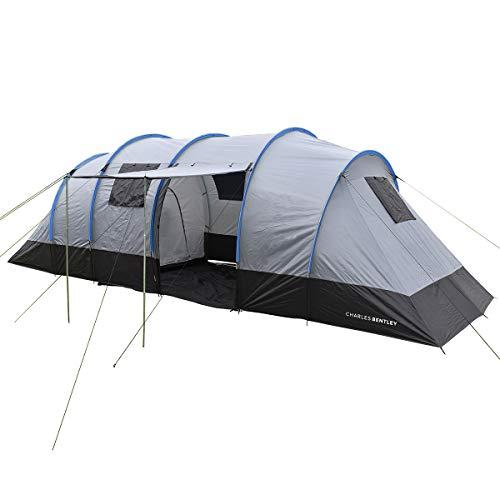 Charles Bentley 8 Personen Familie Camping Tunnel Zelt 2 Zimmer Markise L690 x W240 x H220cm - Grau (Camping-zelt Zimmer)