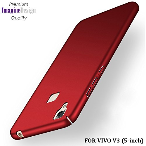 """Wow Imagine All Sides Protection """"360 Degree"""" Sleek Rubberised Matte Hard Case Back Cover For Vivo V3 - Maroon Wine Red"""