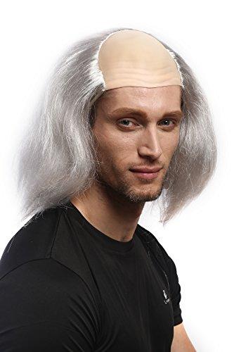 Wig me up ® - dh1132-p309 parrucca uomo carnevale halloween igor rocky horror fronte calva grigio pazzo professore mezza pelata