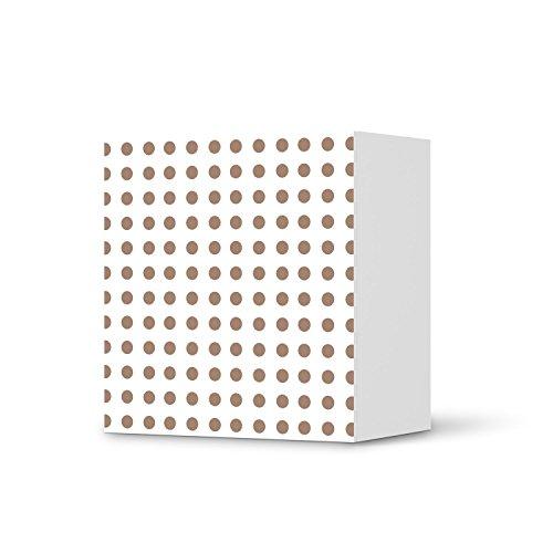 Möbel-Folie für IKEA Besta Regal 1 Tür Element | Möbelsticker Bedruckte Klebe-Folie Möbel umgestalten | Home & Style Schlafzimmer Wohnideen | Muster Ornament Mono Dots - Braun