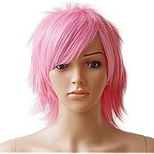 Pelucas Cortas Pelucas Carnaval Cortas Pelucas Carnaval Mujer Rosa [ Pink ] - 12
