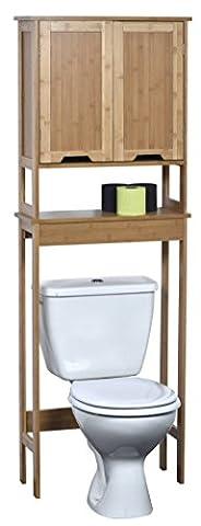Meuble dessus toilettes WC - 2 portes et 1 tablette - Style exotique - en BAMBOU