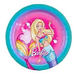 Idea Regalo - Piatti Barbie,24 Piatti Barbie,24 Bicchieri Barbie,32 tovaglioli Barbie,Festa Barbie, Piatti Barbie