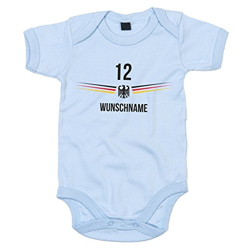 Shirt Department - Baby Body - Bundesadler mit Wunschnamen und Wunschnummer Hellblau-Schwarz 50-62 (Fan-fußball-baby-strampelanzug)