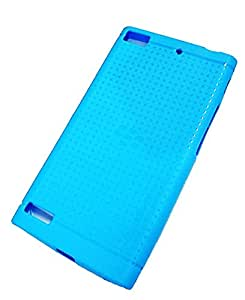 GIZMOFREAKS DOTTED SOFT SILICON BACK COVER FOR BLACKBERRY Z3 - TEAL BLUE COLOR