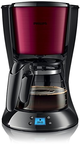 Philips HD7459/31 Daily Filter-Kaffeemaschine, Timer, burgunder/schwarz
