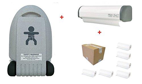 Hygiene-shop Top-Select Set Table à Langer Vertical + Porte-Rouleaux de Papier Economic + Carton avec 6 Rouleaux de Papier
