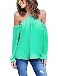 ISASSY - T-shirt Chemisier Blouse Bretelle Femme Fille Top Épaules Nues Manches Longues Sexy