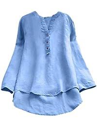 3642134bf1fb1 Femmes Fille Chemisier T-Shirt à Manches Longues Rétro Coton et Lin Pas  Cher Chic