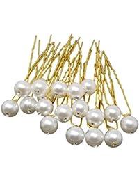 Evogirl Bobby Pins Diamond Wedding Hair Pins Wedding Bridal Salon Accessories Fancy Pearl Dimond Golden, Medium...