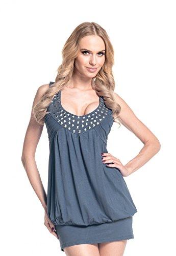 Glamour Empire Femme Mini Robe boule top tunique avec studs sans manches 024 Bleu Gris