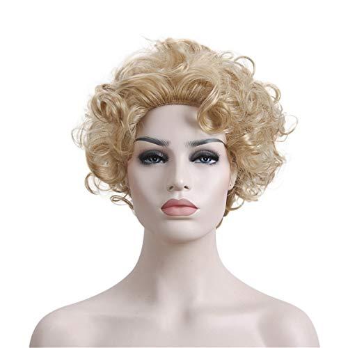 Beiswin Goldene Perücke kleine lockige Haare Perücke kurzes Haar Friseur-Tools Haar-Styling-Tools