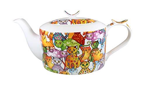 Teekanne Brillantporzellan -Modern- Dekor Bunte Katzen