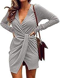 95b222eb87d7d9 HOYMN Damen Sexy Freizeit Elegant Partykleid Wickelkleider Minikleider  Blusenkleider mit Gürtel Rundhals Langarm…