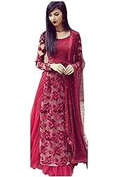 Aanya Women's Semi-Stiched Wine Red Net Embroidered Wedding Lehenga Choli