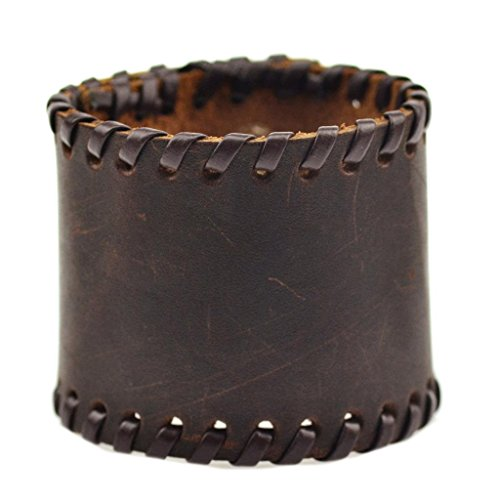 Mann Braun Lieferung Kostüm - Fygrend - Vintage echtes Leder-Armbänder Braun Schwarz Punk Breit Cuff Armschmuck für Frauen Männer Schmuck 4 Snaps [2]