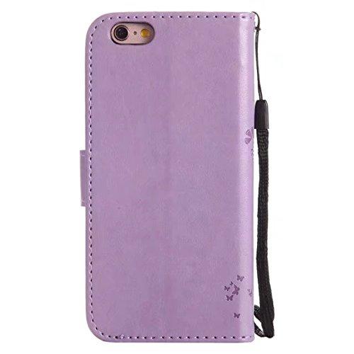 DaYiYang Case Cover iPhone 6 6s caso, solido Custodia in pelle colore PU Premium Embossing modello del basamento di vibrazione della copertura della cassa con la scheda e Cash slot per iPhone 6 6S 4.7 Lavender
