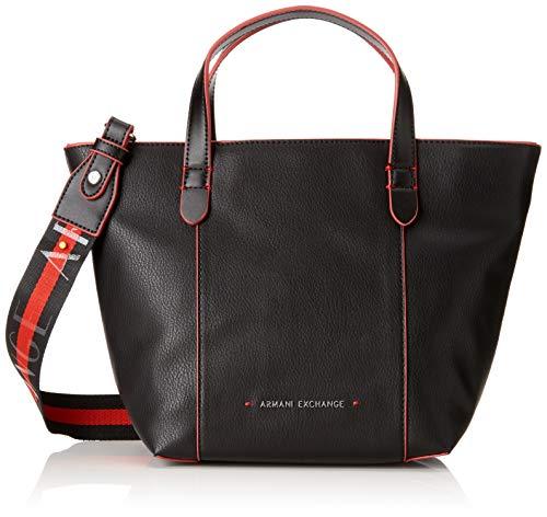 b86fc1a2a0 ARMANI EXCHANGE Stitched Medium Shopper Bag - Borse Tote Donna, Nero,  24.0x16.