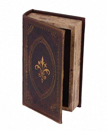 Ellas-Wohnwelt Antike Buchbox Leder Wappen Gold Wohndeko Versteck Buch Geschenk Aufbewahrungsbox