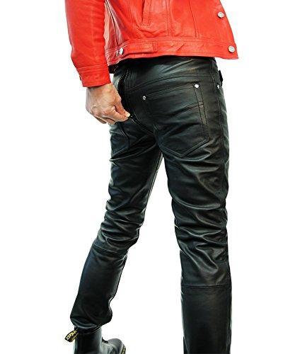 Bockle® 1991 G-Zip Pantaloni in pelle da uomo nero con zip Nero