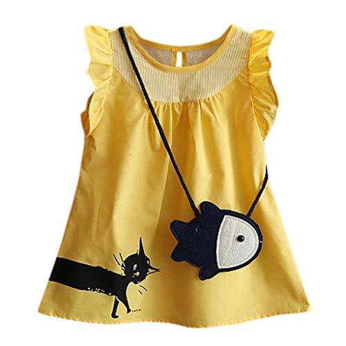 iden Das äRmellose Karikaturkatzenkleid des Babys Der Kinder + Zweiteiliges Kindertagesgeschenk des Kleinen Fischbeutels ()