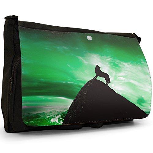 Lupo che ulula alla luna piena grandi classiche nero borsa a tracolla tela, scuola/Borsa Per Laptop Green